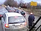 Dumb grannies get stuck in a traffic jam too.