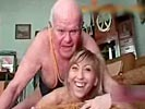 Girl can't stop laughing while grampa tries to fuck her.