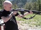 Shotgun recoil takes out skinhead's teeth.