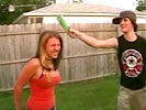 Idiot breaks beer bottle on his girlfriend's head!