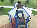 Suicidal parkour jump at kids playground.