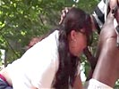 blowjob in the park makes her BARF!