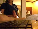Hotel cleaning maid loves to watch guy wank and cum.
