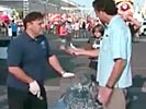 Clumse reporter ruins ice sculpture