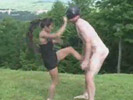 Little asian girl tries kongfu fighting... ON GUYS BALLS!