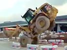 Wicked driving skills with excavator.