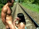 Kinky sex on railway track.
